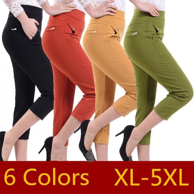 Модные летние укороченные штаны брюки Для женщин хлопок высокого стрейч Повседневное сексуальные брюки дамы Повседневная обувь брюки Roupa Feminina Q178