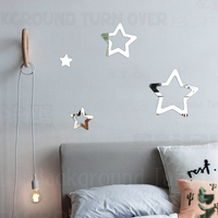 Mirror Wall Stickers Decals Walls Room Decorative Sticker Cute Nursery Star Children Kids Girl Nursery Boy Baby Child R030