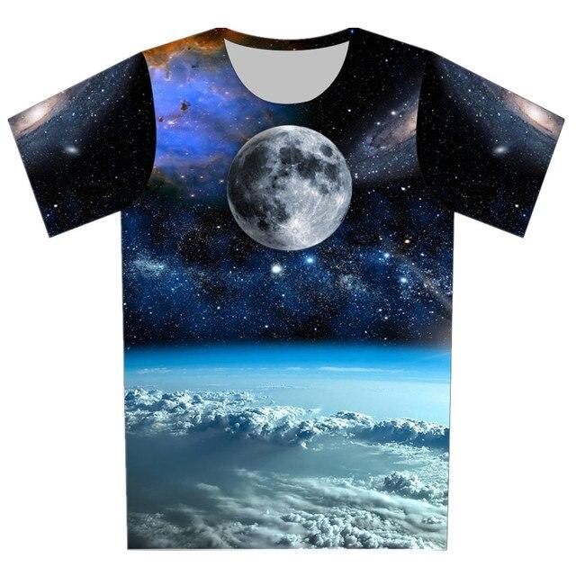 Verano 2016 nuevas mujeres / hombres 3D camiseta galaxia / Planet / rayo / pastillas / malezas / bandera / historieta de la impresión de la camiseta de manga corta Tee informal Tops