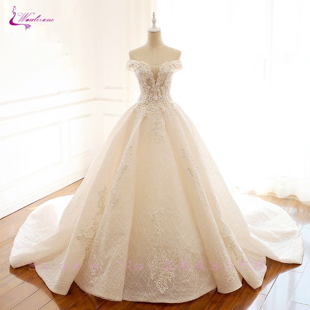 Waulizane Elegant Sexy Neckline Strapless Wedding Dresses Beading Pearls Floor Length Custom Made Bride dress