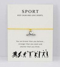 Gymnastics Gym Sports Antique Silver Charm Card Bracelets Yellow Hot Pink Aqua Red Wax Cord Women Girl Boy Men Jewelry Gift