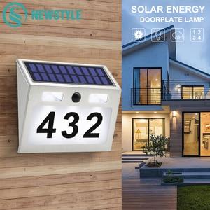 Image 1 - 5 LED Outdoor Doorplate Solar Lamp Waterproof House Number LED Solar Light Montion Sensor Plaue Light For Home Garden Door
