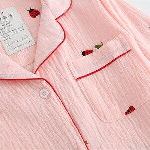 Image 5 - 2019 New Ladies Pajamas Set Cartoon Ladybug Printed Crepe Cotton Gauze Simplicity 2 Piece Set Women Soft Comfort Household Wear
