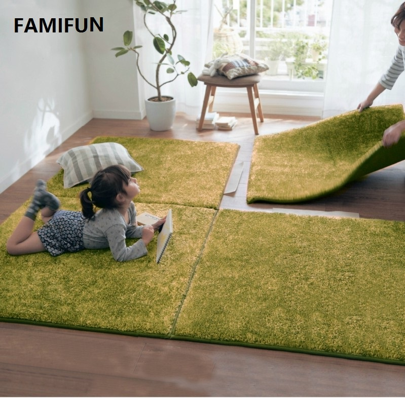 FAMIFUN Super Soft Long Shaggy Fuzzy Rugs Living Room Bedroom Splicing Carpets Children Crawling Mat 100*100cm Oversized Carpet