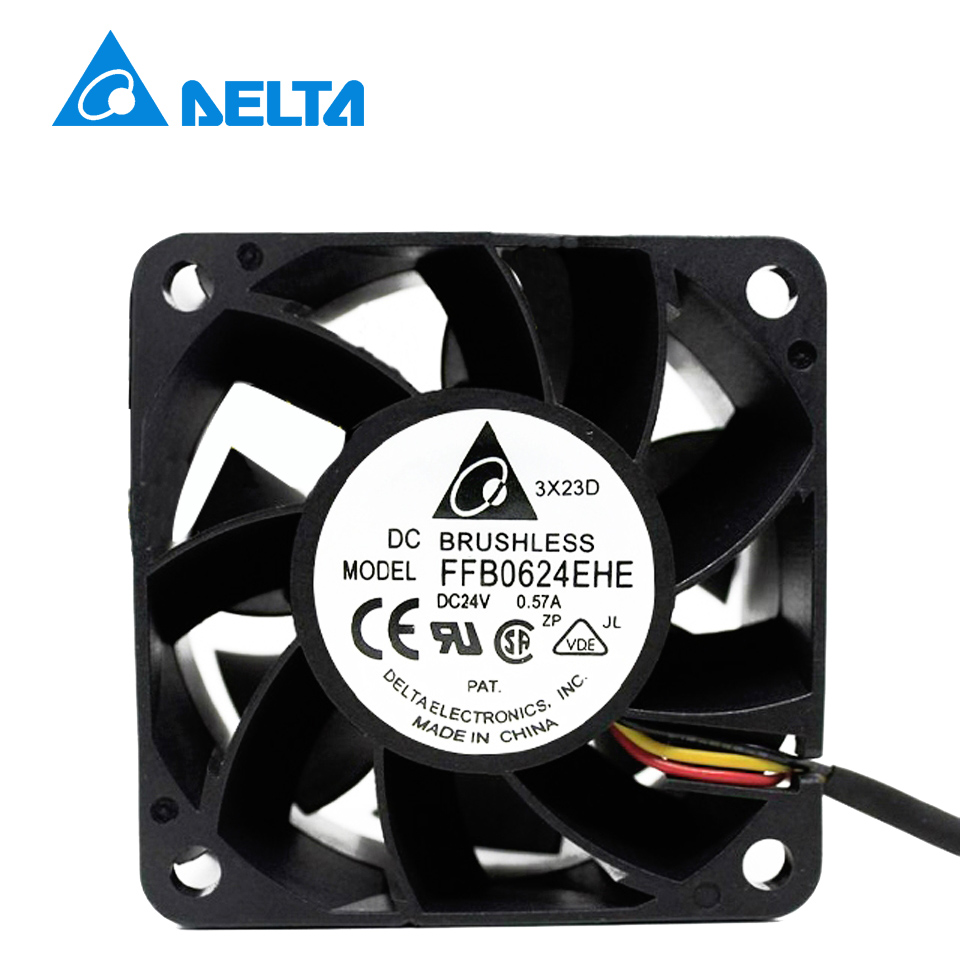 Free shippingFor DELTA FFB0624HHE-R00 DC 24V 0.20A 3-wire 60mm 60x60x38mm Server Square cooling fan купить