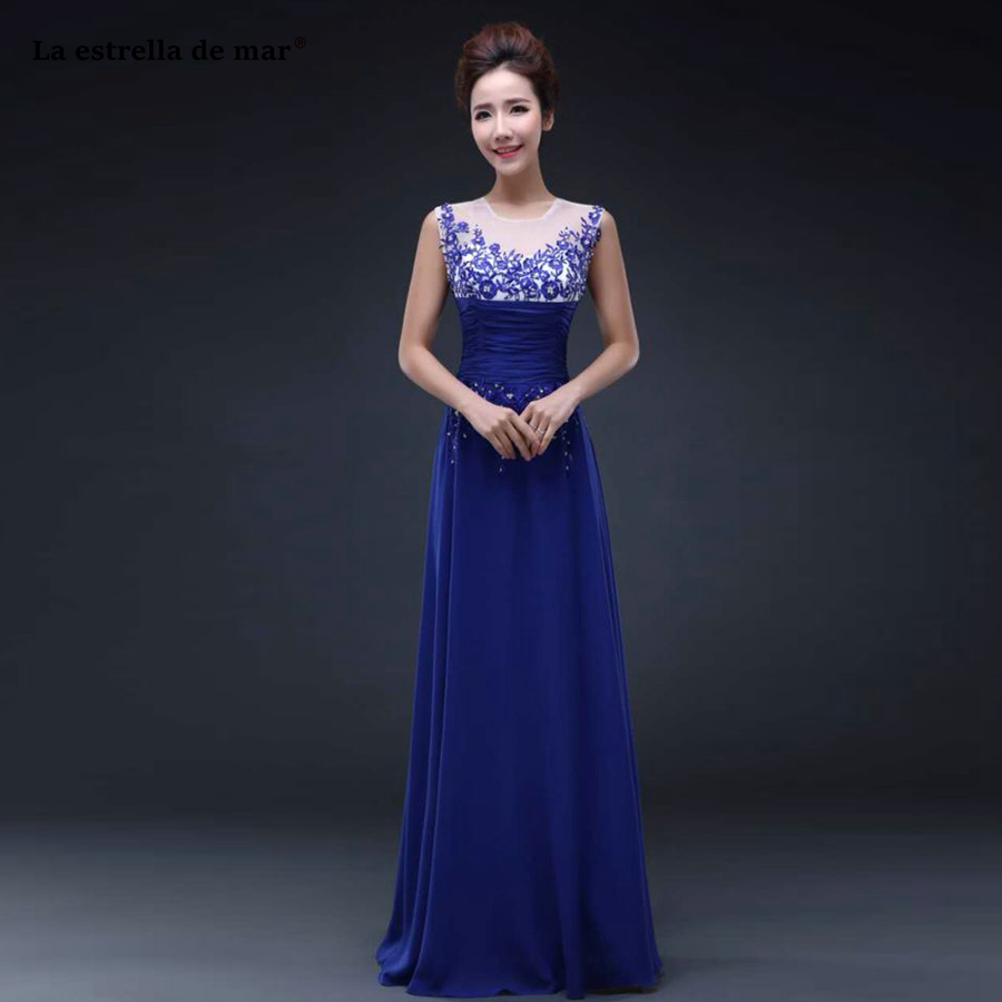robe demoiselle d'honneur hot Scoop neck lace chiffon back a line royal blue burgundy ivory pink   bridesmaid     dresses   long plus