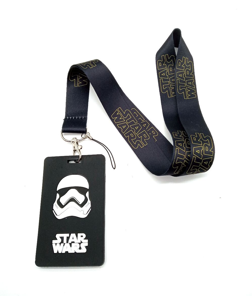 Hot Sale!  1 Pcs Cartoon Star Wars  Lanyard Key Chains Card Holders Bank Card Neck Strap Card Bus ID Holders P001
