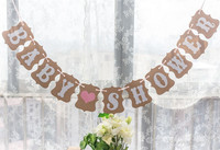 1x Baby Shower Banner Bunting Garland Rustic Chic Party Decoration Gift Girl Boy