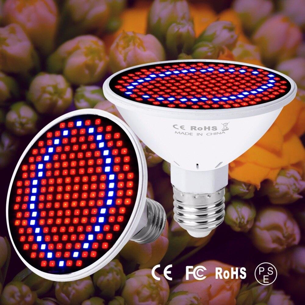 E27 Full Spectrum LED Grow Lights Indoor Plants E14 LED Growing Lamp GU10 220V Fitolamp MR16 48 60 80leds Plant Flower Bulbs B22