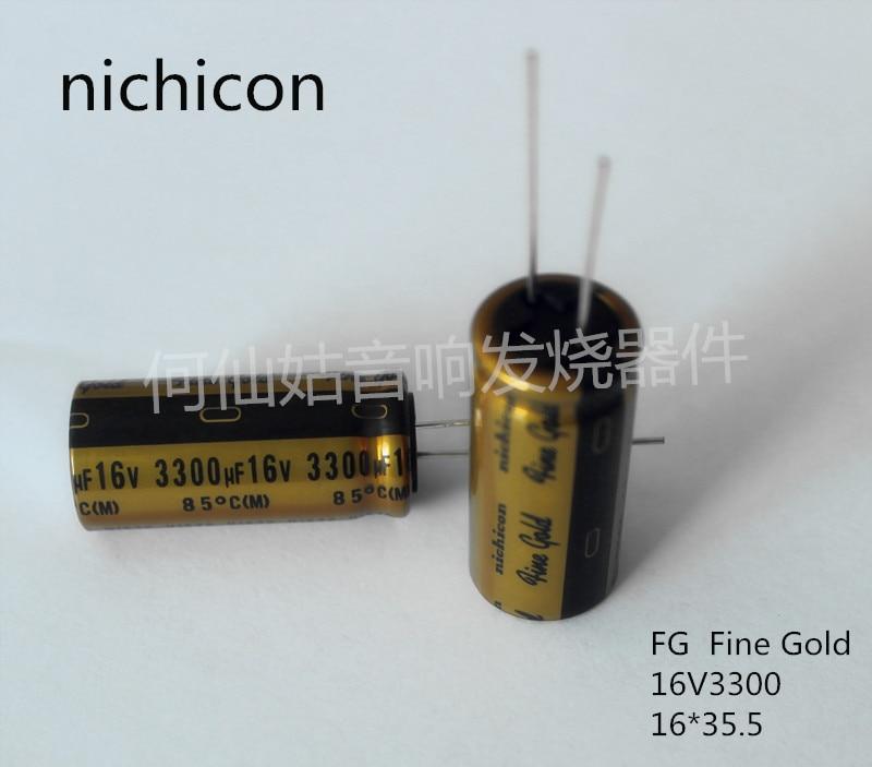 10pcs NICHICON capacitance FG series 16v3300uf 16*35.5 (Fine Gold) audio super capacitor electrolytic capacitors free shipping
