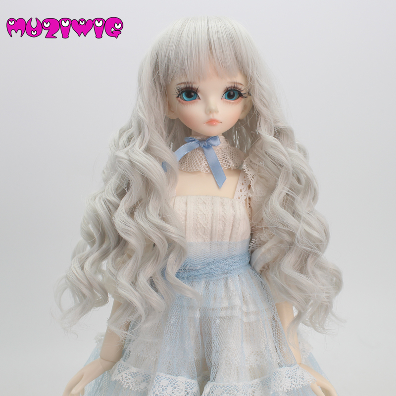 Inventive Muziwig White Grey Bjd Wig 1/3 1/4 1/6 High-temperature Fiber Synthetic Girl Long Curls Hair Doll Wig With Bangs Dolls & Stuffed Toys