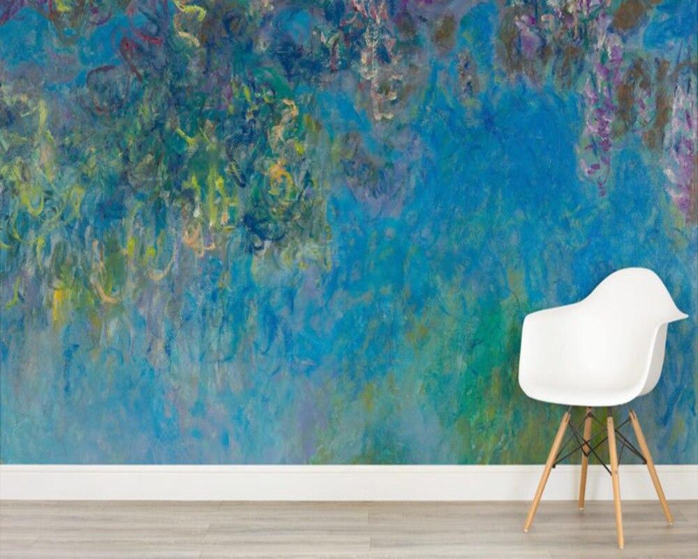 US $12.0 60% di SCONTO|Carta da parati personalizzata, Glicine monet Murale  per soggiorno camera da letto divano sfondo muro di casa decorazione papel  ...