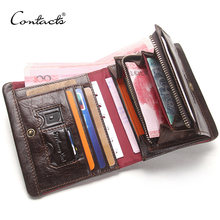 CONTACT'S Men's Wallets Genuine Leather Card Holders With Zipper Coin Pockets Male Purse Walet Vintage Men Cuzdan Luxury Brand(China)