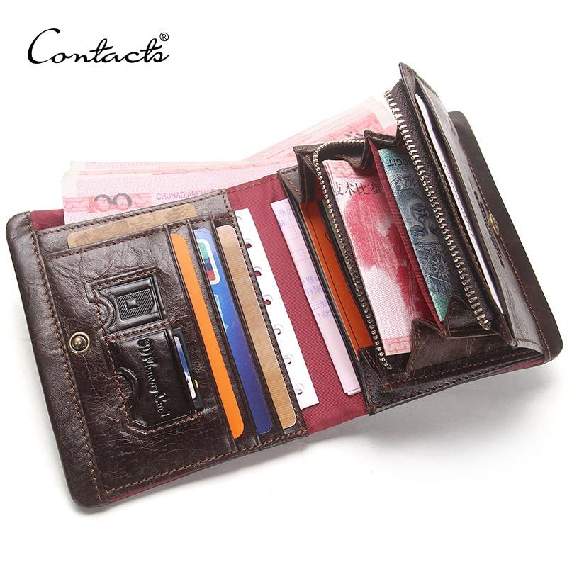 KONTAKT Pánské peněženky Držáky originálních kožených karet s kapsami na mince na zip Mužské peněženky Walet Vintage muži Cuzdan Luxusní značka