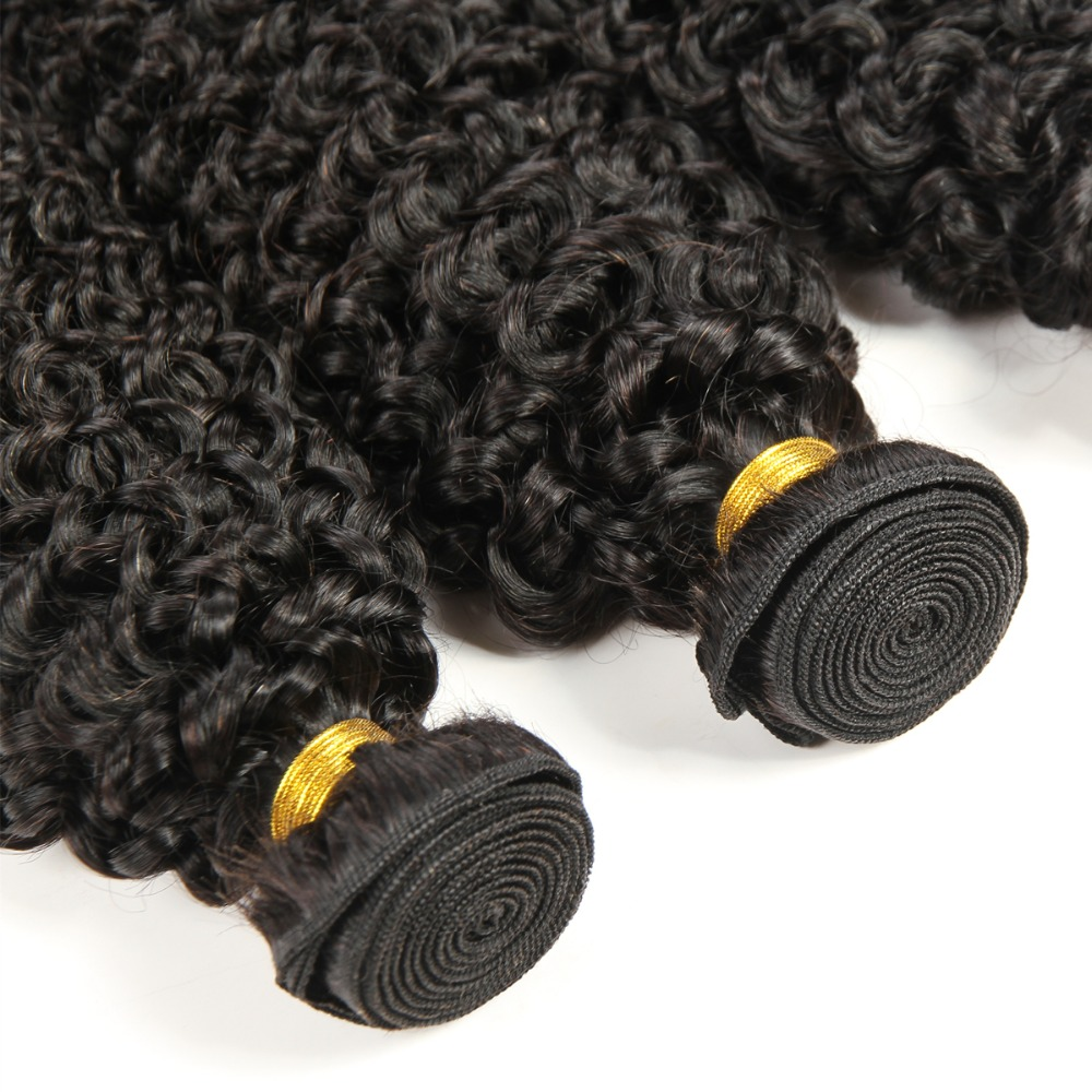 Brésilien Jerry Curl Cheveux Armure 3 pièces Faisceaux 100% Extensions de Cheveux humains Naturel Noir Couleur Naturel Sain Vierge Cheveux 100 g/pc - 3