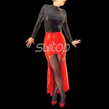 Latex Rubber mermaid Dress sexy club long dresses  longuette red color eveningwear evening clothes