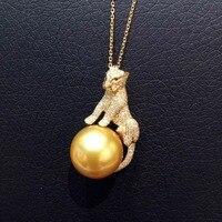 14 мм натуральный Золото Жемчужное ожерелье 18 К желтого золота с настоящий бриллиант изысканные женщины ювелирные изделия Leopard Подвеска Бес