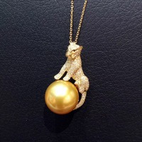 14MM natural gold pearl pendant necklace 18K yellow gold with real diamond fine women jewelry leopard pendant free shipping