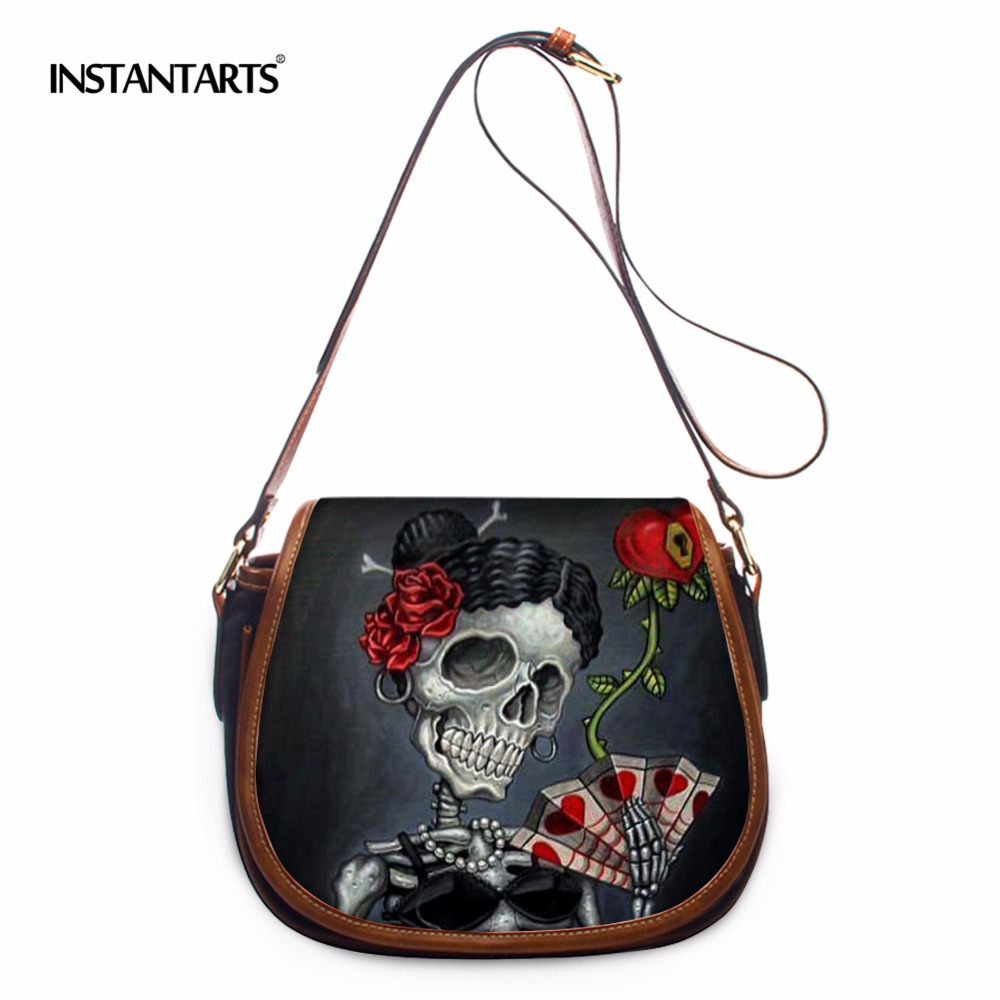INSTANTARTS Retro Punk Skull Messenger Bags for Women Brand Designer Woman Skulls Crossbody Shoulder Flap Bags Ladies Handbags instantarts vintage skull handbags women high quality leather shoulder tote bag designer female casual messenger bags for ladies