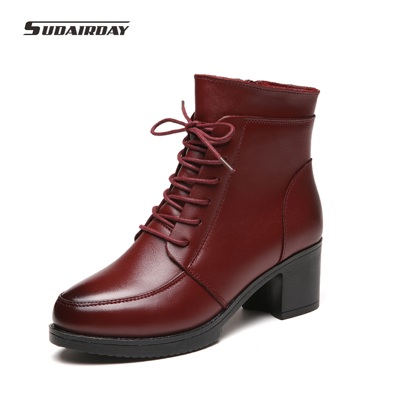 ФОТО Plus Size 35-42 2016 Women's Winter Boots Women Winter Martin Shoes Woman Genuine Leather Warm Snow Ankle Boots botas mujer