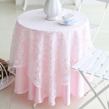 Romantic Tablecloth  White lace pink Bottom lining table cloth For Wedding Birthday Party Round Table Cover fashion Home Decor