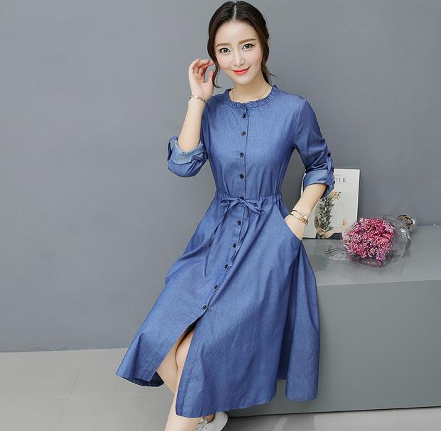 2018 Spring and Autumn waist denim dress women Slim single-breasted long-sleeved  round 76d91bc88b6a