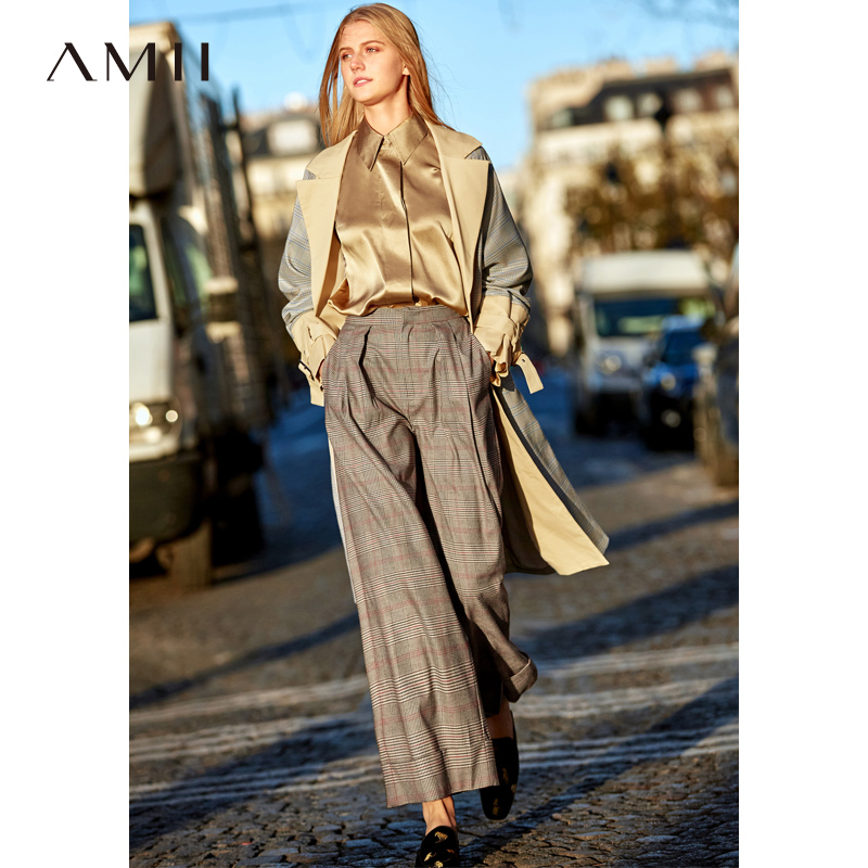Amii Minimalist Europeans Plaid   Wide     Leg     Pants   2019 Vintage High Waist Panelled Female   Pants