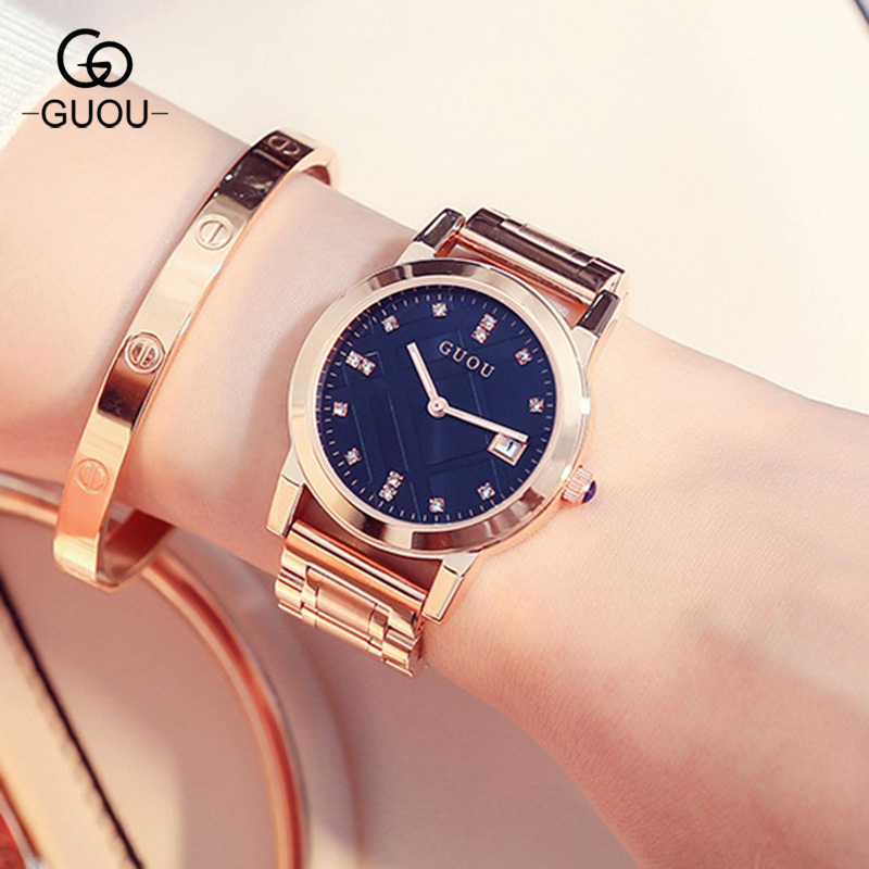 GUOU Top Brand Women Luxury Rhinestone Clock Female Girls Dress Calendar Bracelet Bangle Quartz Watch Woman Wristwatch GU003 new arrival bs brand quartz rectangle bracelet women luxury crystals bracelet watch lady rhinestone watch charm bangle bracelet