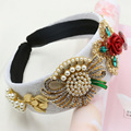 2016 New Arrival Baroque Headband Pearl Sunflower Hairband Crystal Bowknot Red Rose Hair Jewelry Gold Grape Hairwear for Women