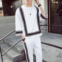 loldeal Vintage Track Suit Spring Jogger Sporting Tracksuit Hip Hop Mens Set Contrast Square Shape Hit color Suit Black White