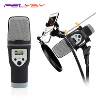 FELYBY Mobile Phone Microphone Condenser Professional Popular Window Filter Support Karaoke Voice Chat PC Mixing Microphone