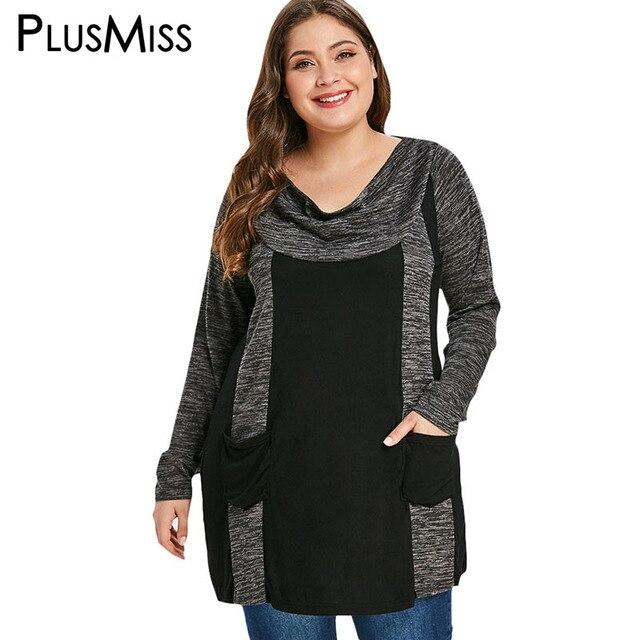 79fa6094d8198 PlusMiss Plus Size 5XL Loose Long Sleeve Double Pocket T Shirts Women  Winter 2018 Casual Long Tops Tees Big Size XXXXL XXXL XXL
