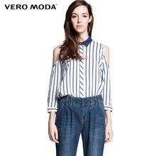 Vero Moda brand women Striped printed off shoulder shirts ladies turn down collar niagara blue blouses chic tops 314231017