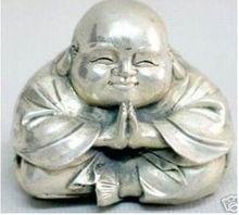 Collection Wonderful Luck tibet Silver-gilt Buddha Pray Statue wholesale 2PCS factory Bronze Arts outlets