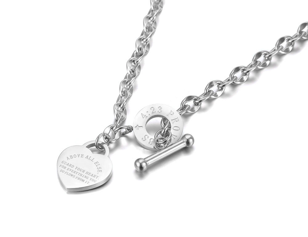 HTB1hin1df1H3KVjSZFBq6zSMXXae - Lokaer Titanium Stainless Steel Heart Charm Pendant Necklaces Jewelry Classic Love Bible Proverbs 4:23 O-Chain Necklace N19085