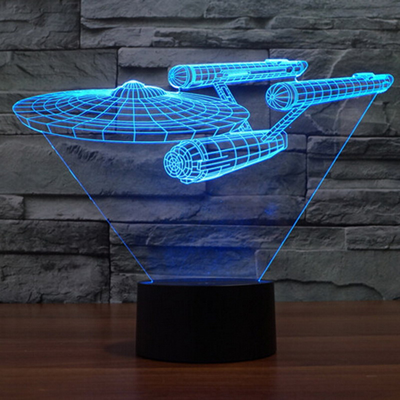 Star Trek USS Enterprise 3D LED Night Light 7 Couleurs tactile Interrupteur Table Lampe de Bureau pour enfants bébé chambre cadeau P22