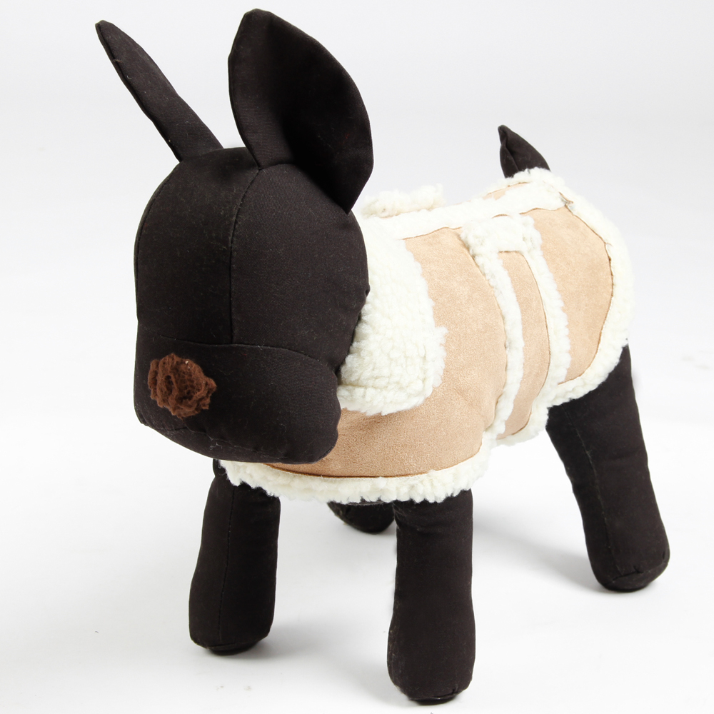 Hot Sale Dog Clothes Pet Dog Lamb Wool Costumes Beige Brown Clothing Suede fabric 5 Sizes Free Shipping Wholesale Large Doggie