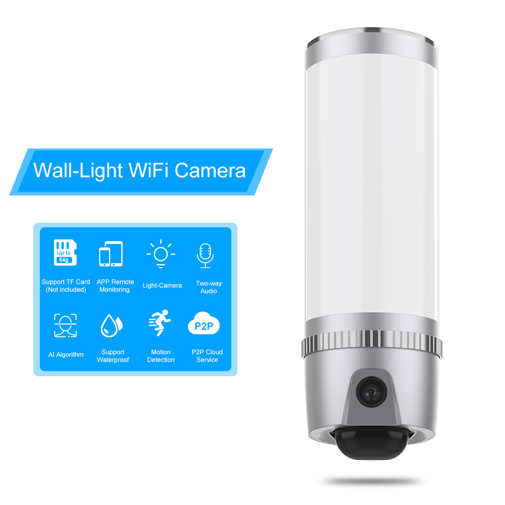 Wall Light Wireless HD 1080P WiFi Camera 100 Leds Motion Detected Floodlight Security Cam Two Way