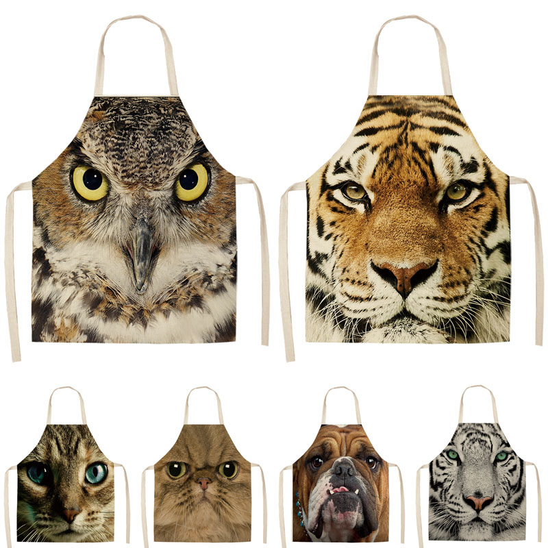 1Pcs Cat Tiger Dog Owl Printed Kitchen Apron Sleeveless Cotton Linen Aprons For Cooking Home Cleaning Tools 53*65cm MA0058