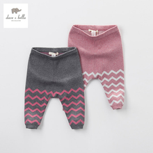 DB4656 dave bella autumn baby girls wave jacquard cotton wool pants kids textile trousers