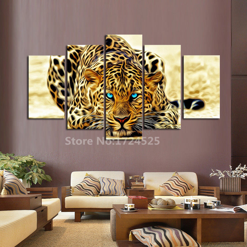 5 piece blue eyes leopards modern home wall decor animals