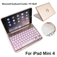 For IPad Mini4 High Quality 7 Colors Backlit Light Wireless Bluetooth Keyboard Case Cover For IPad