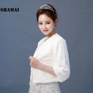 Image 3 - SHAMAI New Wedding Jacket Warm Faux Fur Wrap Bridal Coat 3/4 Sleeves Wedding Shrug Bride Accessories In Stock