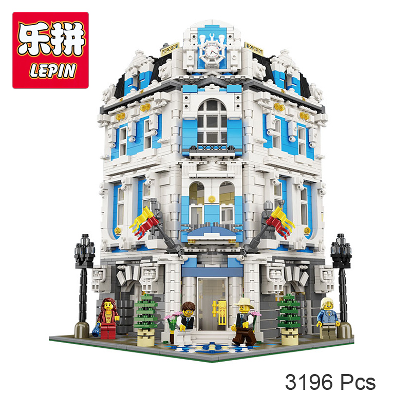 Lepin 15018 MOC City The Sunshine Hotel Set Building Blocks Bricks Compatible with Lego Toys Gift for Boys Girls 3196 Pcs lepin 01045 girls series the heartlake grand hotel model set building blocks bricks eucational toys for girls gift 41101