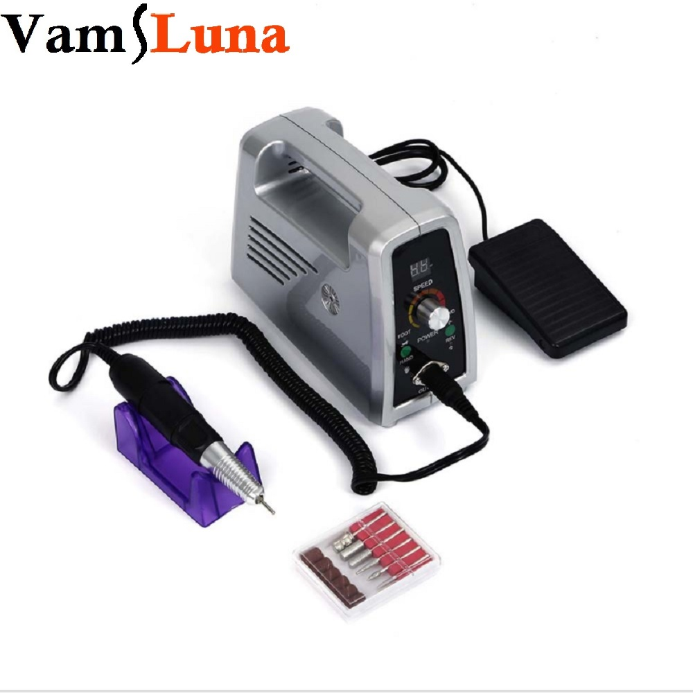 VamsLuna 65W 35000RPM Electric Nail Drill Machine File Kit Bits Salon Nail Polishing Engraving Carving Machine Manicure Pedicure 2017 new 65w 35000rpm electric nail drill machine file kit bits manicure pedicure kits nail drill machine with lcd display