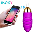 IKOKY USB Vibrators Controlled by APP Bluetooth 10 Frequency Adult Product Sex Toys for Women Female Multispeed Vibrating Egg