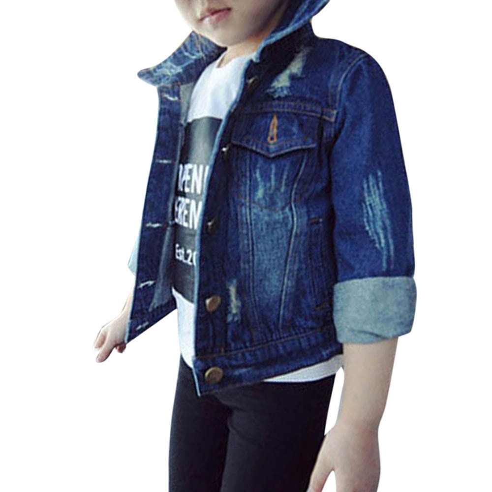 90f4d9ce2 Toddler Kids Baby Girls Clothes Hole Washed Denim Jeans Hole Coat Jackets  Outwear Button Up Collar Kid Denim Tops Autumn Winter-in Jackets & Coats  from ...