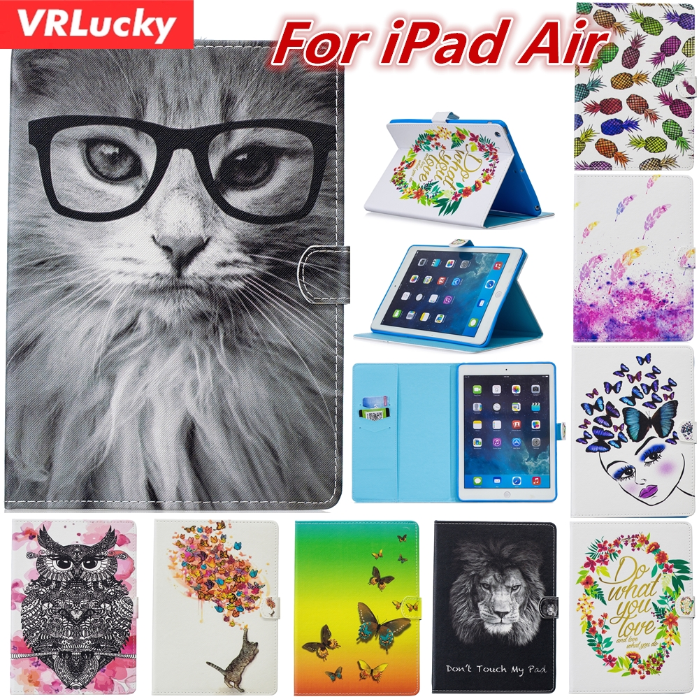 VRLucky Fashion Color Painting Owl Lion Cat Patterns Flip Cover and Stand PU Leather Case For Apple iPad Air
