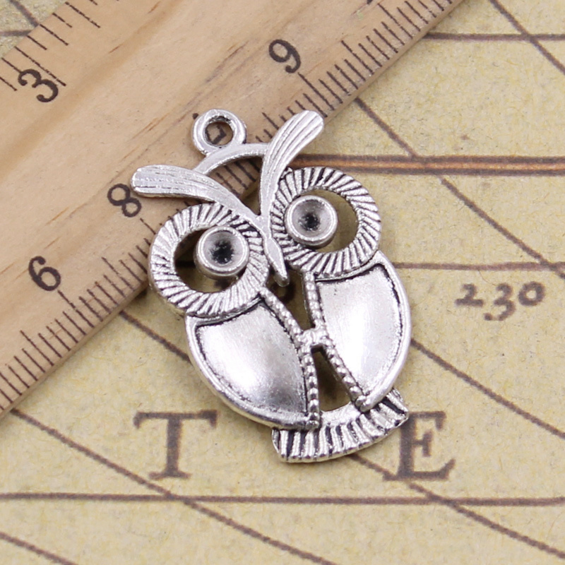 12 Antique Silver Owl Pendant Charms Findings For Jewelry Making Crafts DIY