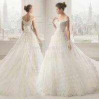 Top Temperament Lace Wedding Dress 2019 robe de mariee A Line Off Shoulder Appliques Sequin Flowers Beads Bridal Gown